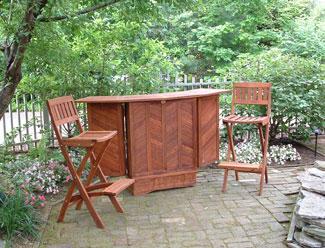 Outdoor patio deck and garden furniture foldaway bar table
